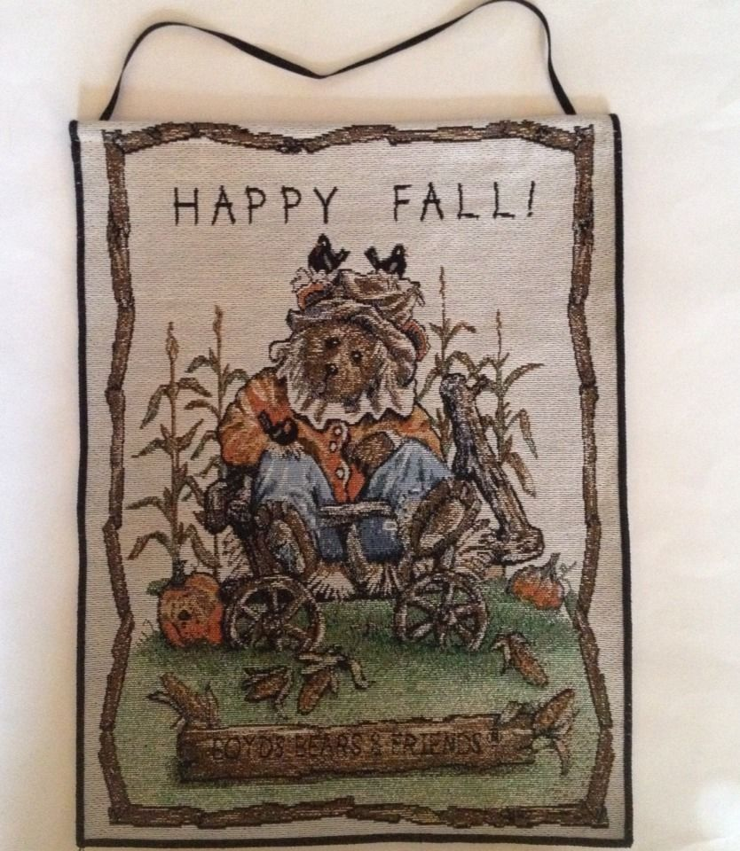 Boyds Bears *HAPPY FALL* Tapestry WALL HANGING Einstein Q Scaredy Bear  HALLOWEEN