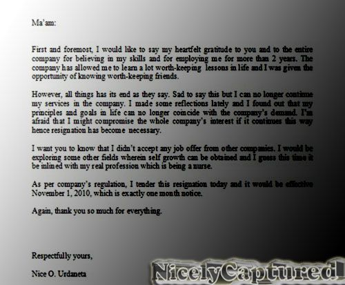 resignation letter sample Resignation Letter Email – Nursing Resignation Letter