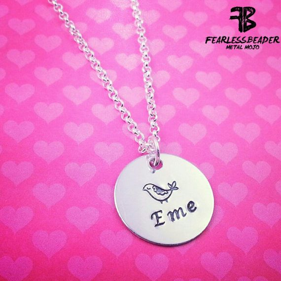This small silver pendant necklace is customized with the name or initials of your choice and stamped with a baby partridge! (One of my