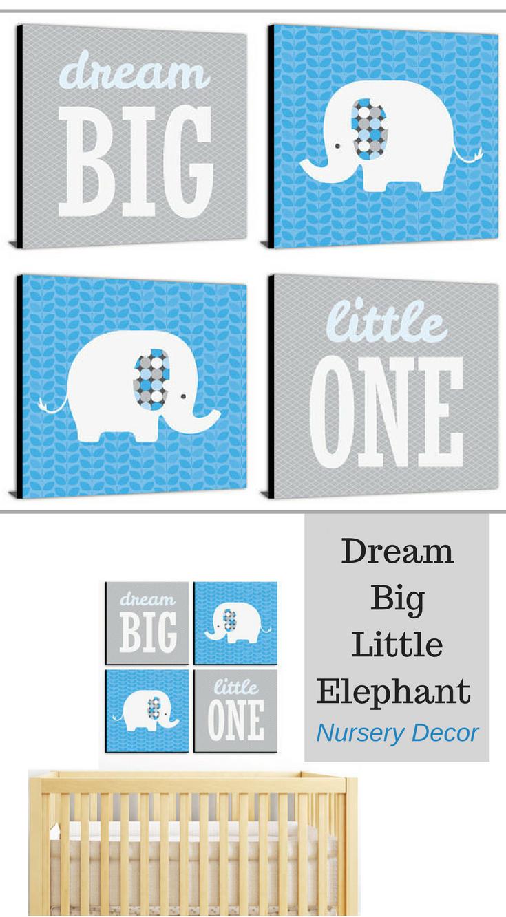 Nursery wall decor dream big little one elephant nursery decor