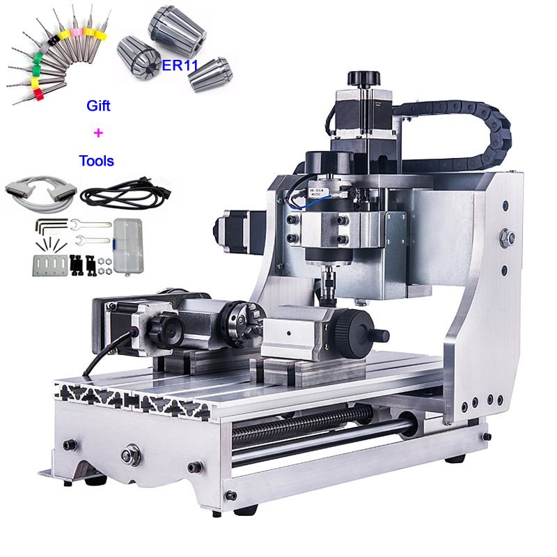 Goedkope 4 Axis CNC Router 3020 T D300 Mini CNC Freesmachine met Wit