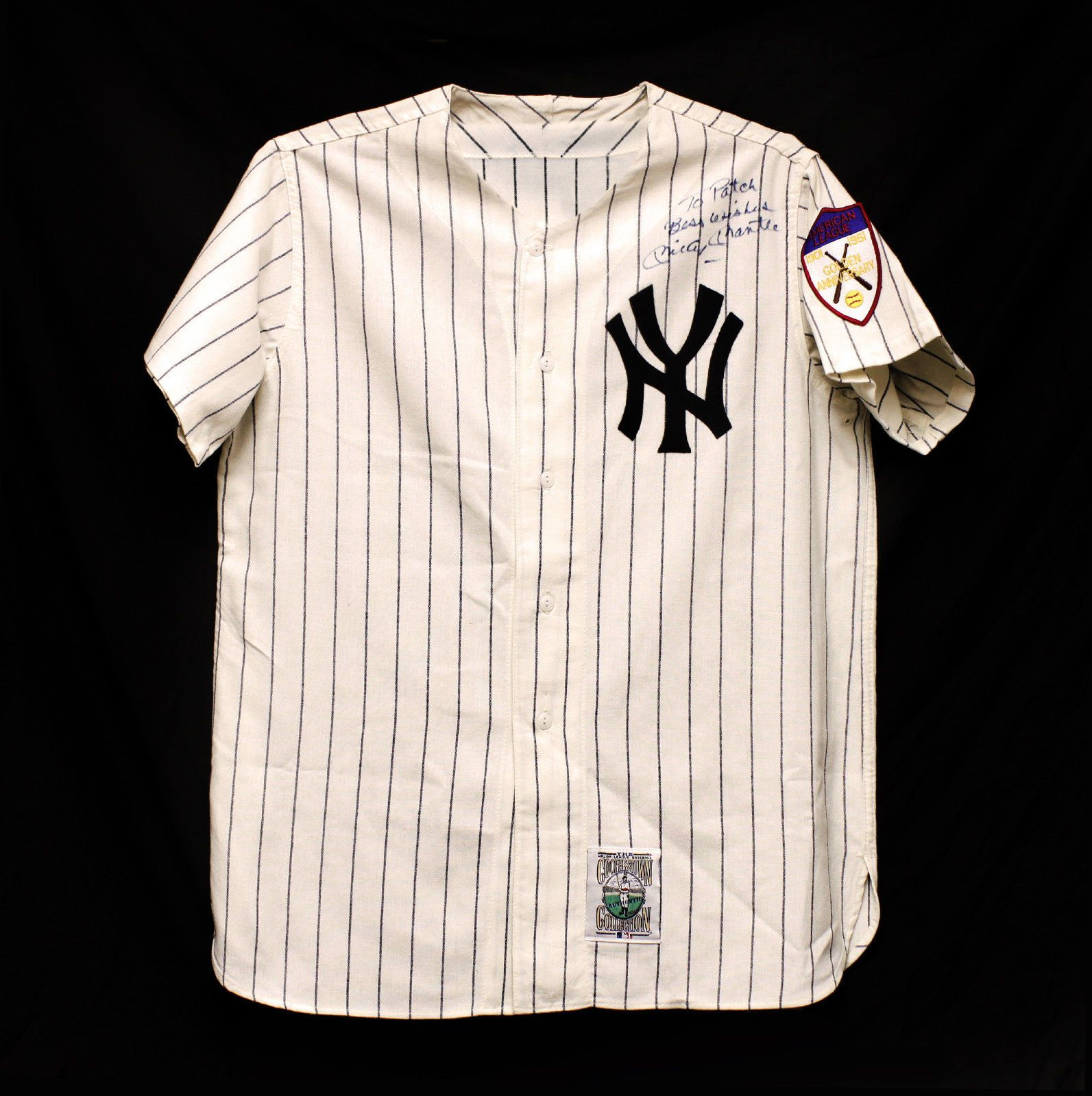buy online 2e626 dff6a Mickey Mantle Signed Vintage Cloth Yankees Jersey ...