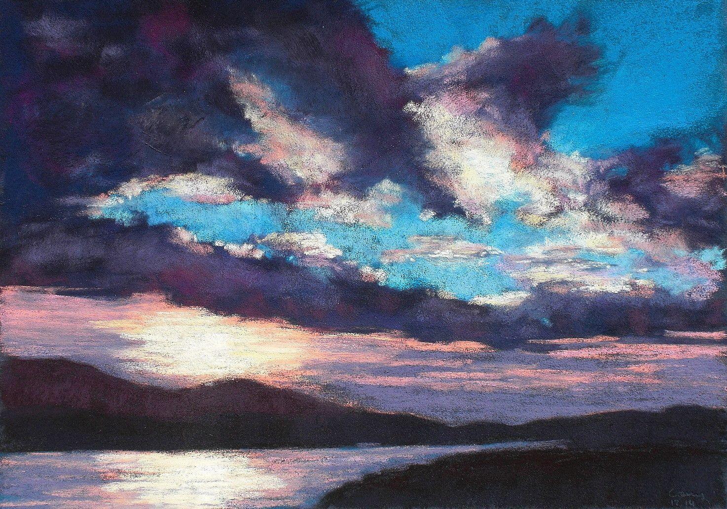 Sky Clouds Wolken Himmel Abendstimmung Soft Pastel Kreide