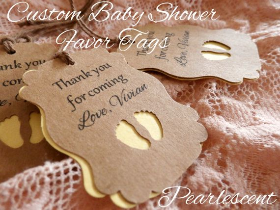 CUSTOM Pearlescent Baby Shower Tags  Favor tags  Thank You