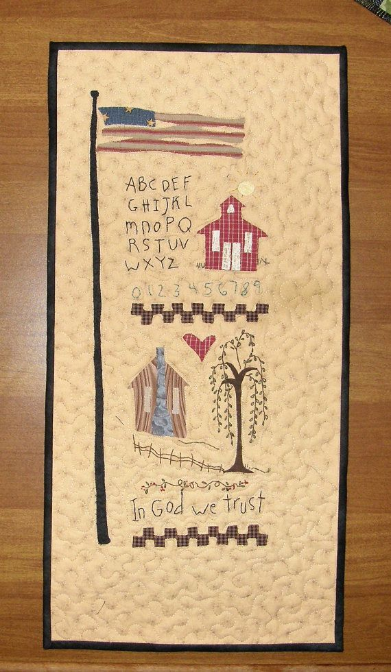 Primitive Quilted Wall Hanging Americana, Art Quilt, Quilted Wall ...