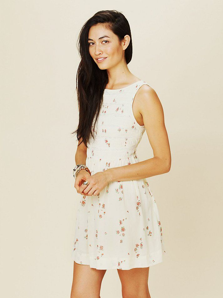 Free People Lace Inset Fit and Flare Dress