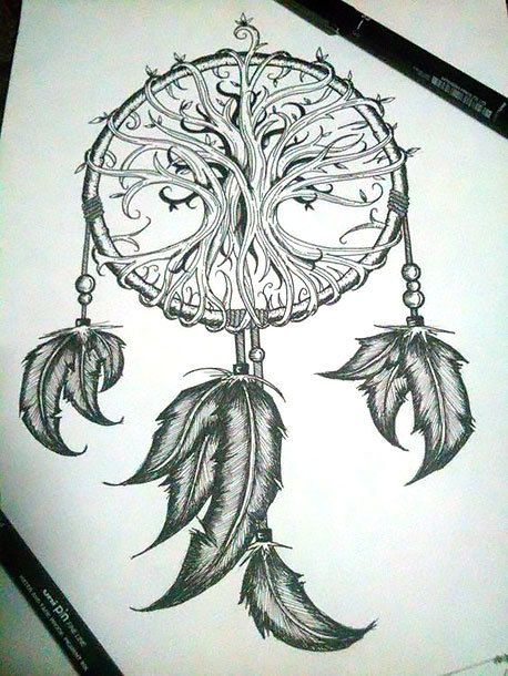 Dreamcatcher With Indian Feathers Tattoo Design | Colour ...