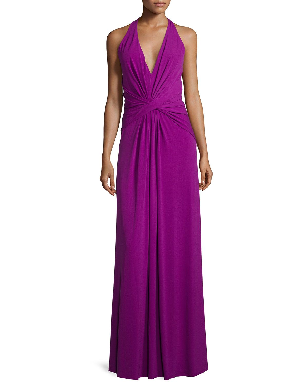 V-Neck Twist-Front Evening Gown, Purple, Women\'s, Size: XL - Halston ...