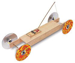 the wheel; A larger wheel means the car travels further with each turn ...