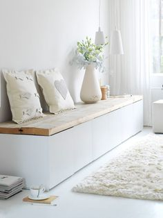 Pretty wood on top of a low shelving unit -easy to make!