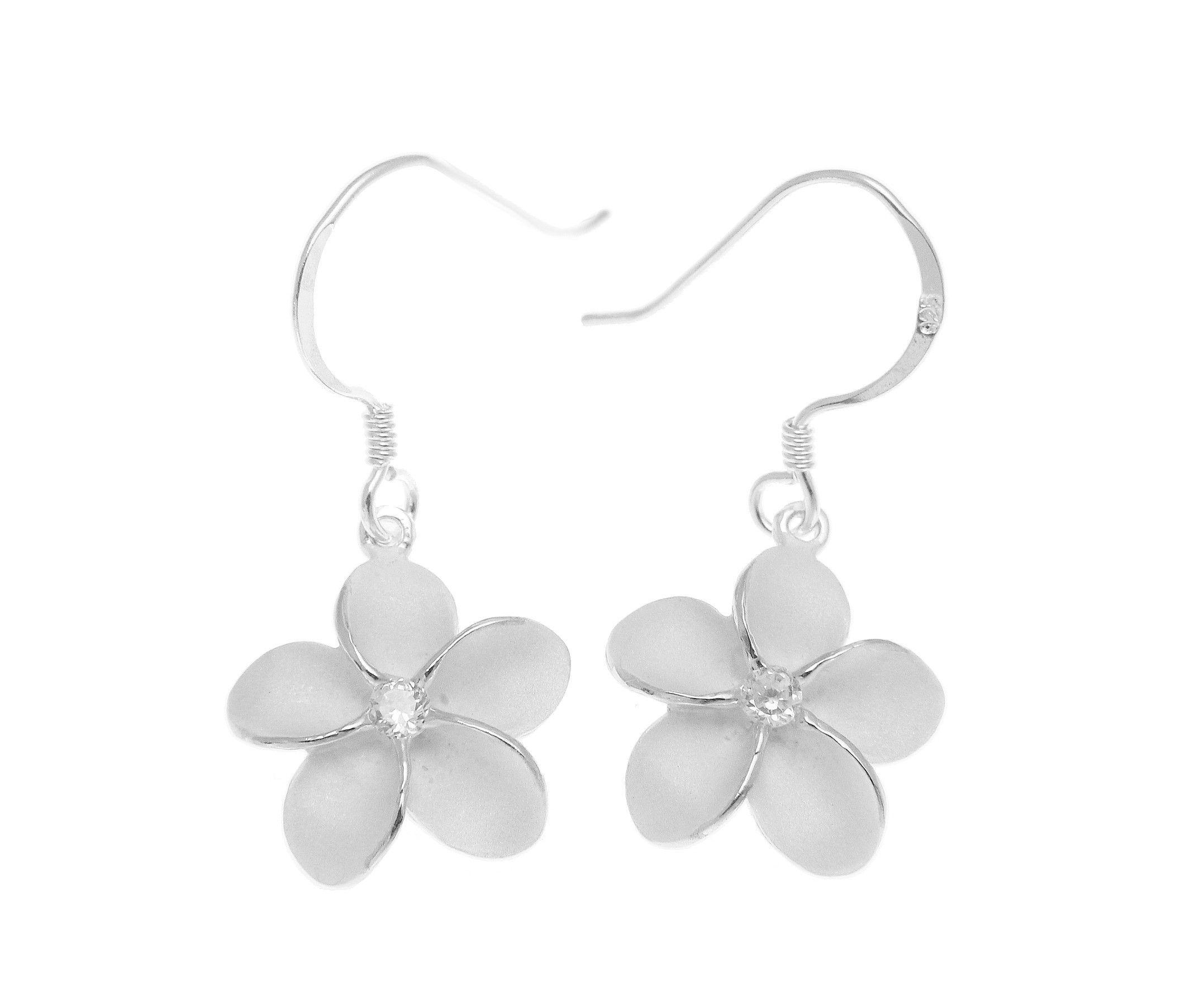 Sterling Silver 925 Hawaiian Plumeria Flower Earrings Hook Wire Cz