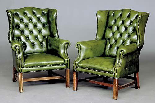 Lovely 193: Pair Georgian Style Green Leather Wingback Chairs : Lot 193