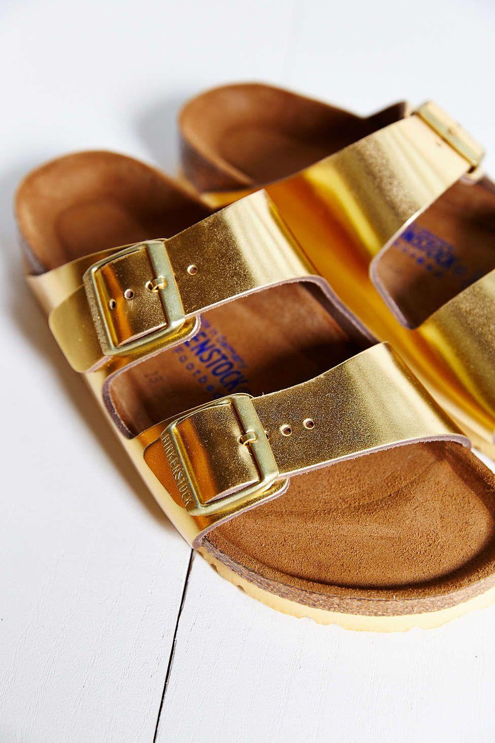 edc2bf6a3ea9 Birkenstock Arizona Soft Footbed Gold Metallic Slide Sandal ...