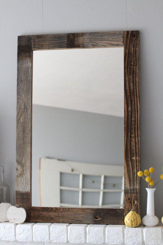 Reclaimed Wood Mirror Large Farmhouse Rustic Decor Hanging Bathroom Vanity