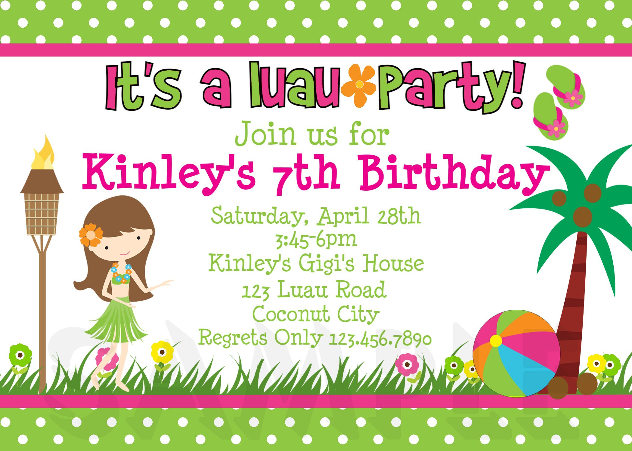 Girls printable birthday invites luau bd party pinterest girls printable birthday invites stopboris Image collections