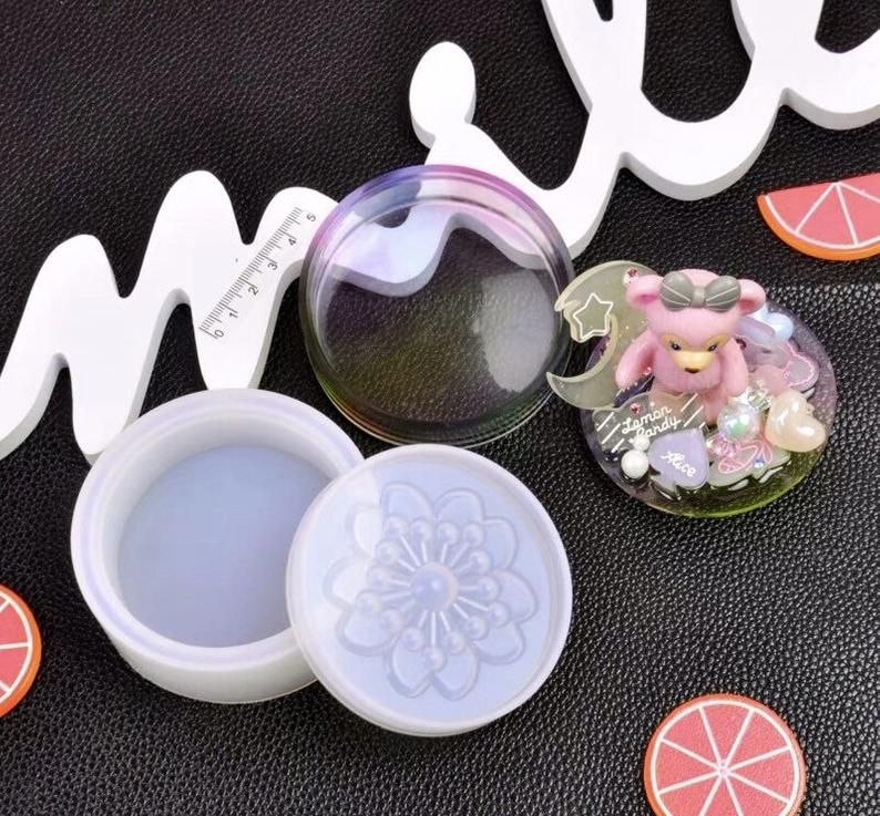 2part sakura shiny trinket box silicone mold resin uv