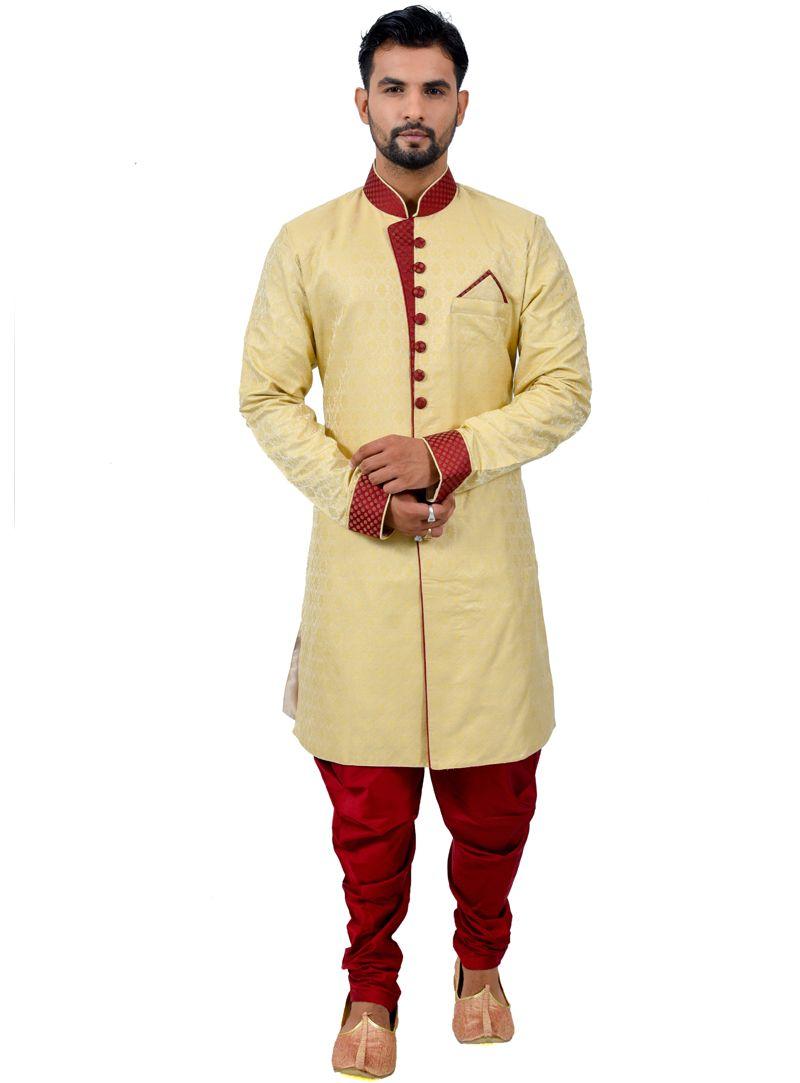 Beige silk readymade indo western suit readymade menus wear