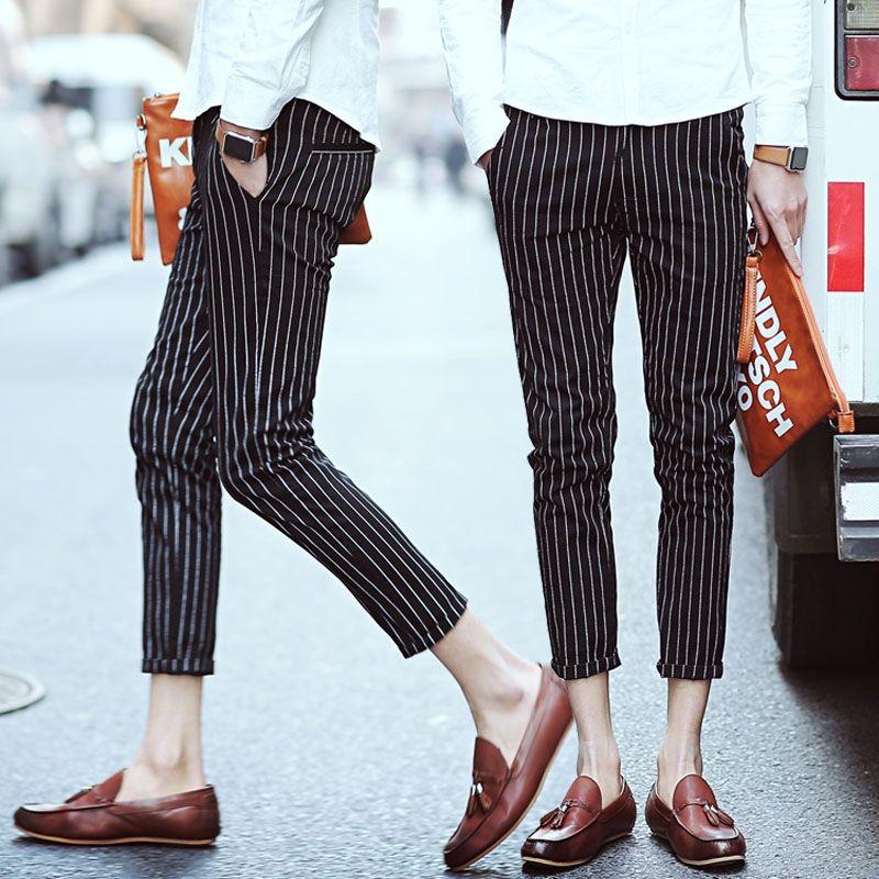 421e9cd1cd8 New Casual Men Cotton Plus Size Pants Hair stylist trousers Mens stripe  ninth pants Slim pencil pants nightclubs Slim Trousers
