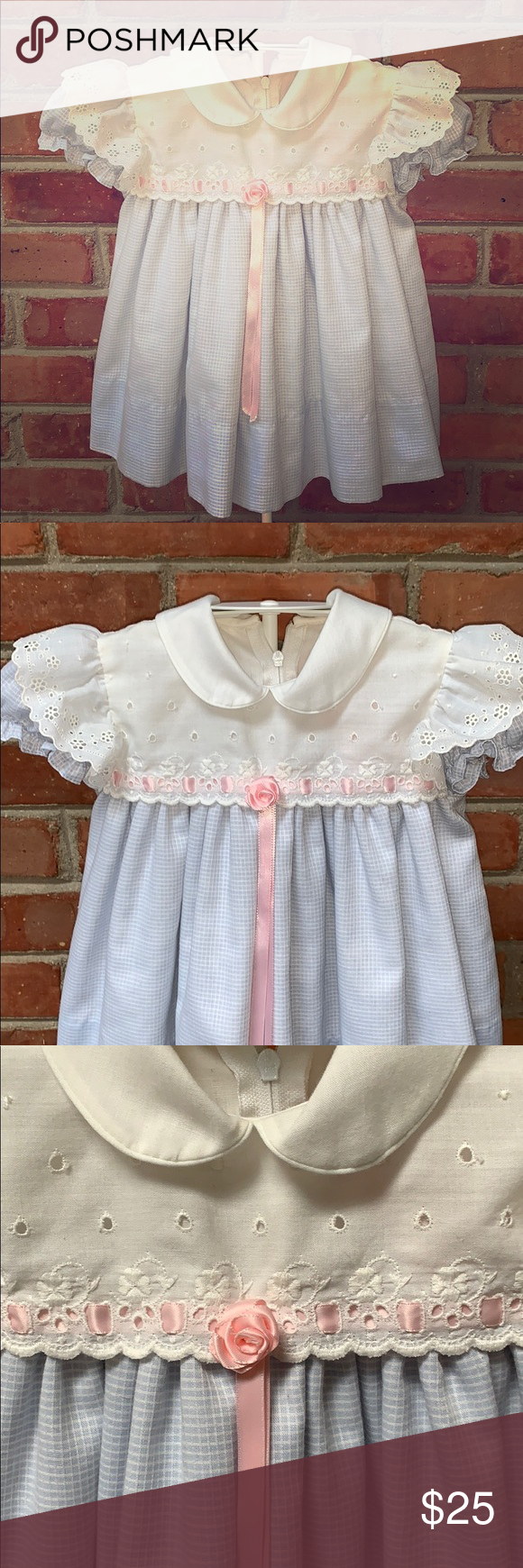 9229ceddd C. I. Castro Peter Pan collar dress, worn once 🌸🐇Perfect Easter Dress! 🐣  🐰 Beautifully made light blue and white gingham check with pink bow and  rose, ...