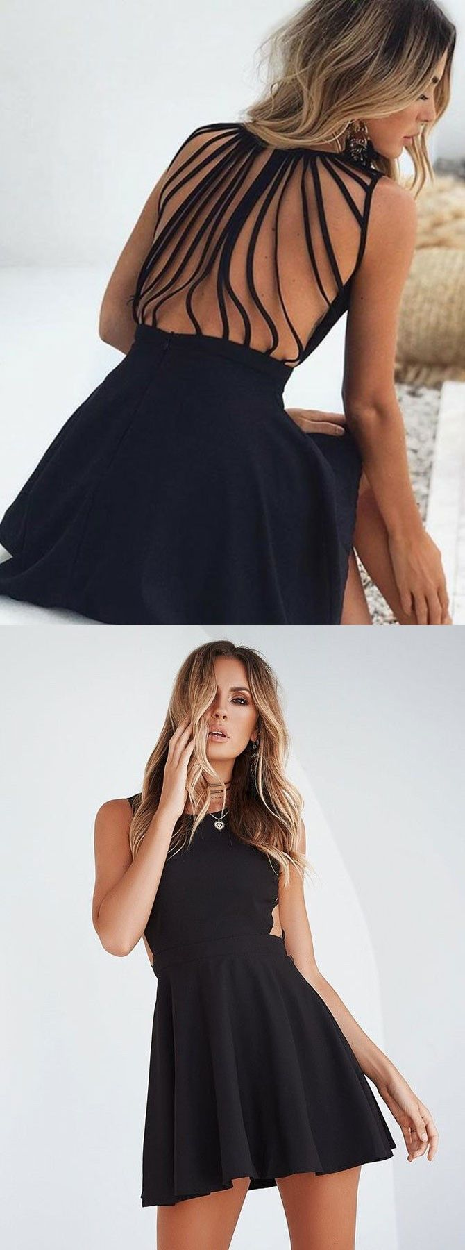 Aline round neck cut out short satin black homecoming party dresses