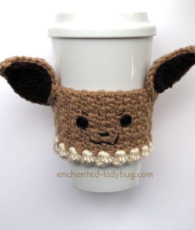 Free Crochet Pokémon Eevee Coffee Cup Cozy Pattern | Crocheting ...