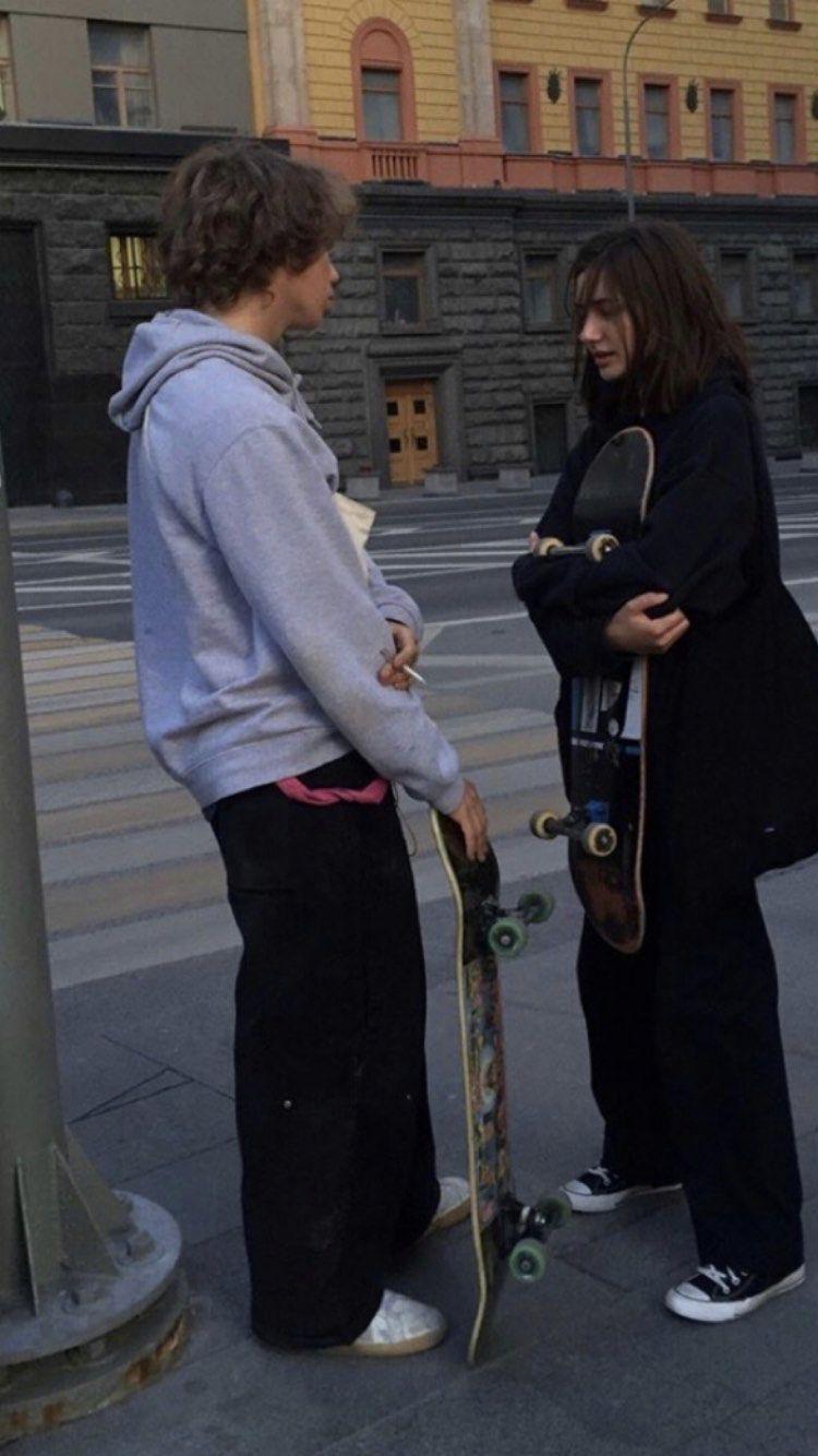 Skater Skate Girl Boy Skateboard Pose Vibes Aesthetic Grunge Edgy