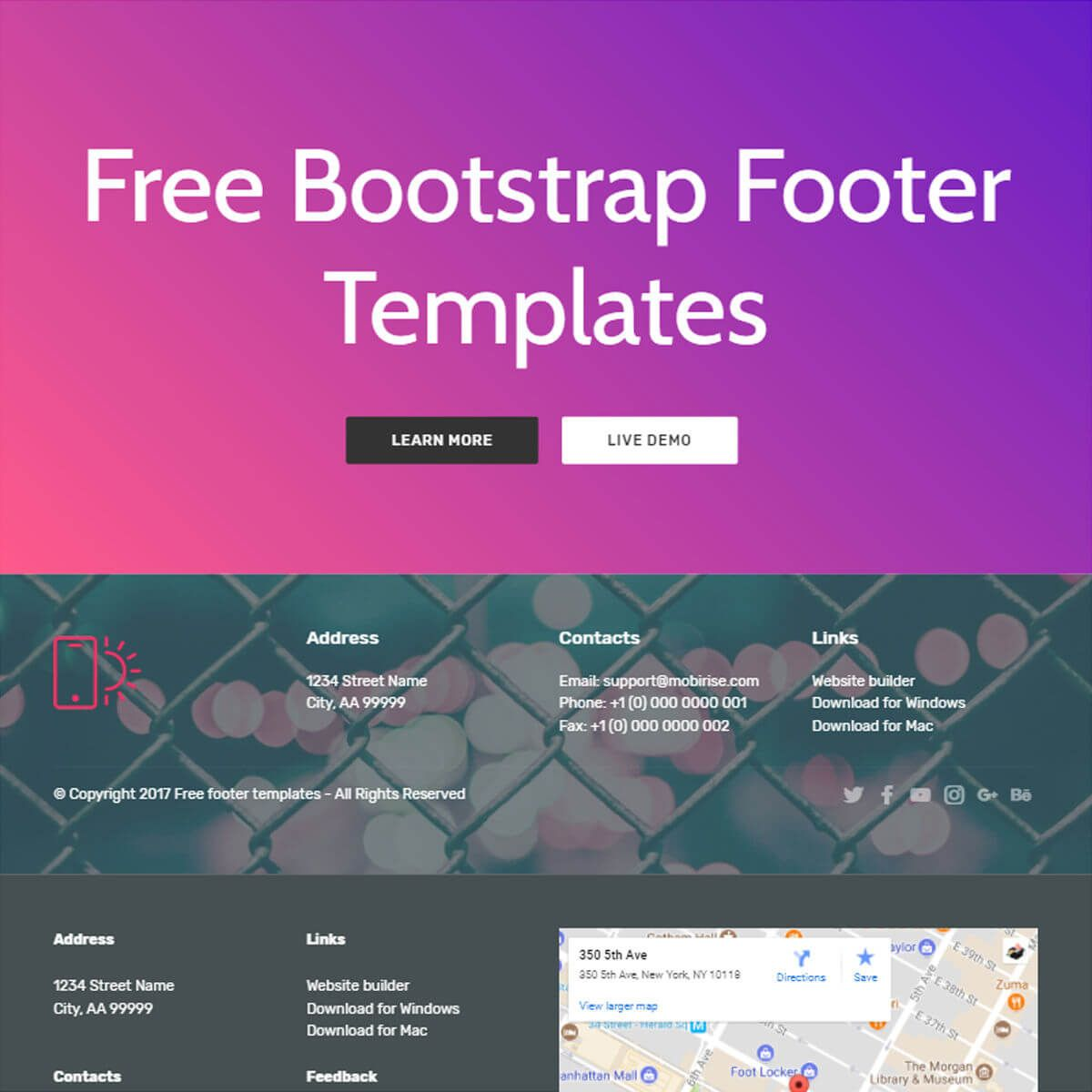 Bootstrap Footer Template Free Download In 2020 Templates Template Free Bootstrap Template