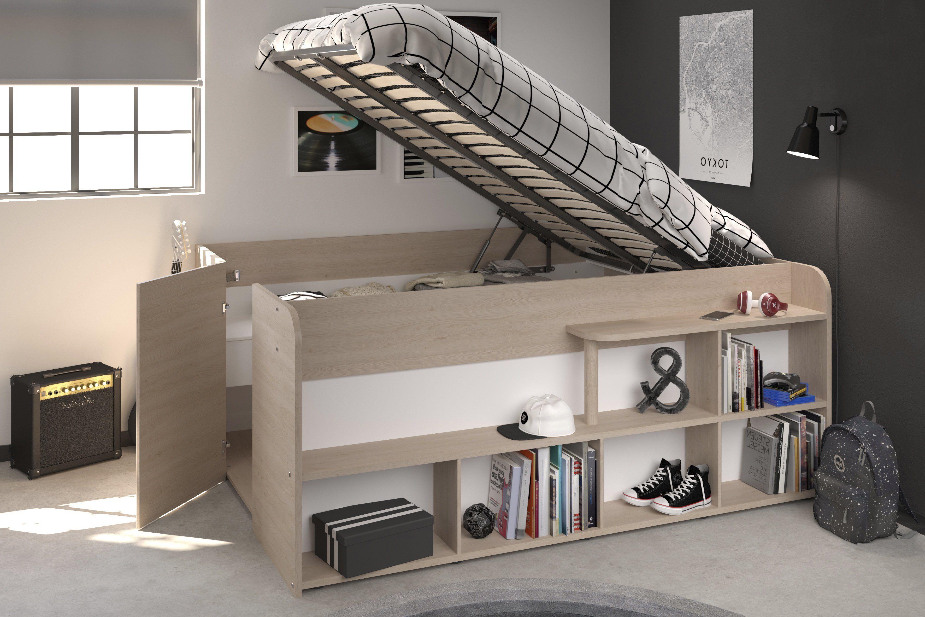 Solution Lit Pour Petit Espace lit combiné giant 140x200 cm chêne/blanc   lit combiné