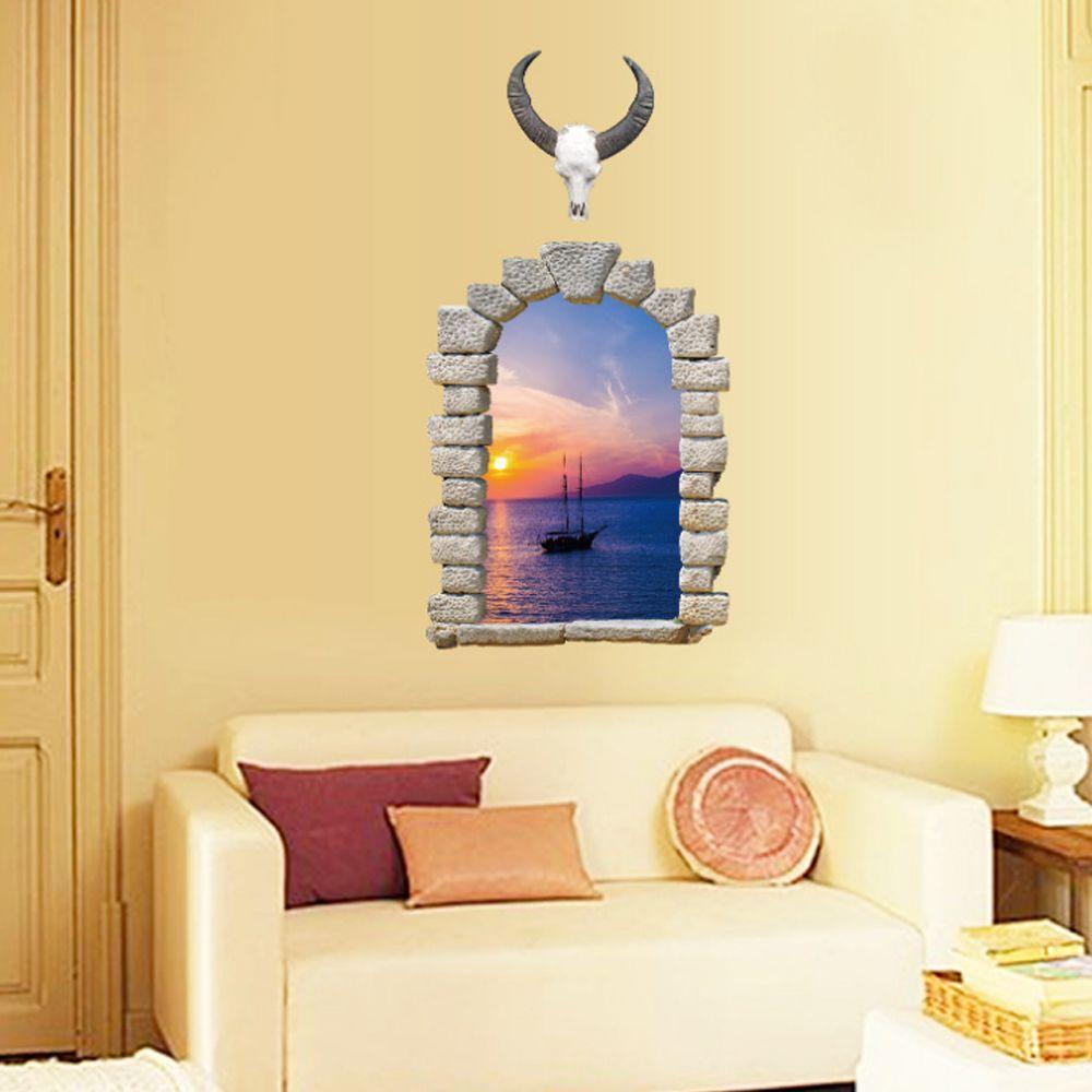 D landscape fake window sea boat wall sticker diy home decal art