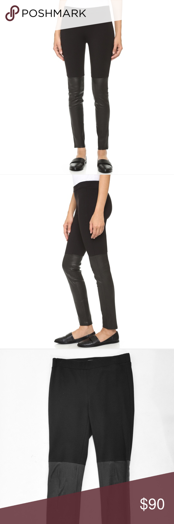 4179593d251af Vince Mixed Media Lambskin Leather Leggings Stretch knit leggings from Vince.  Black, stretch ponte knit fabric with contrast lambskin leather at the  bottom.