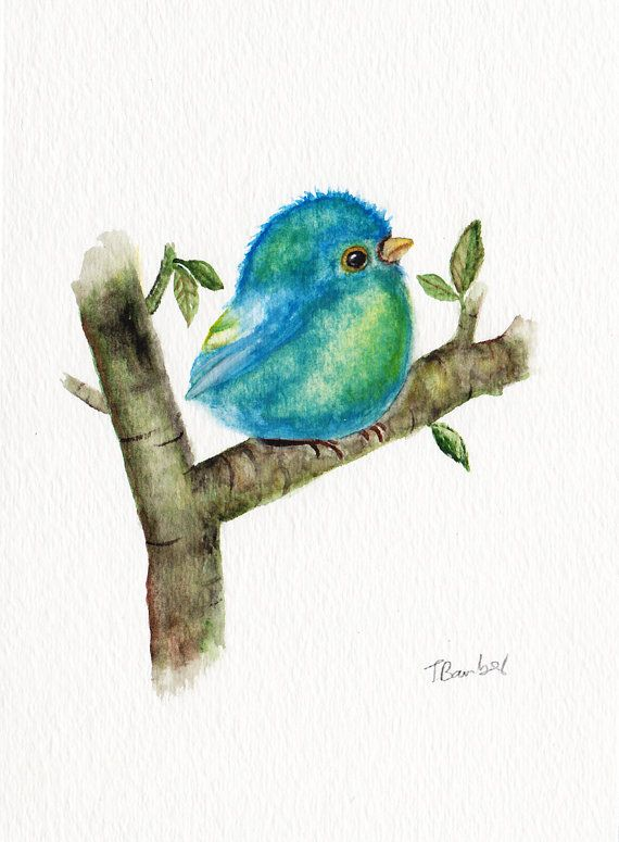 Baby Blue Bird Original Watercolor Painting Watercolor Bird