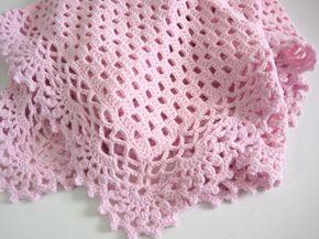 Crocheted, Baby Girl, Pink Baby Blanket, Baby Shower, Newborn, Baby Afghan on Etsy, $65.00