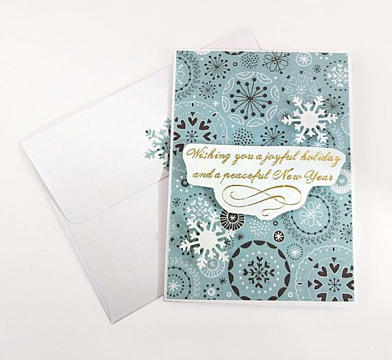 joyful holiday peaceful new year card handmade greeting card christmas card winter greeting card blank card with envelope