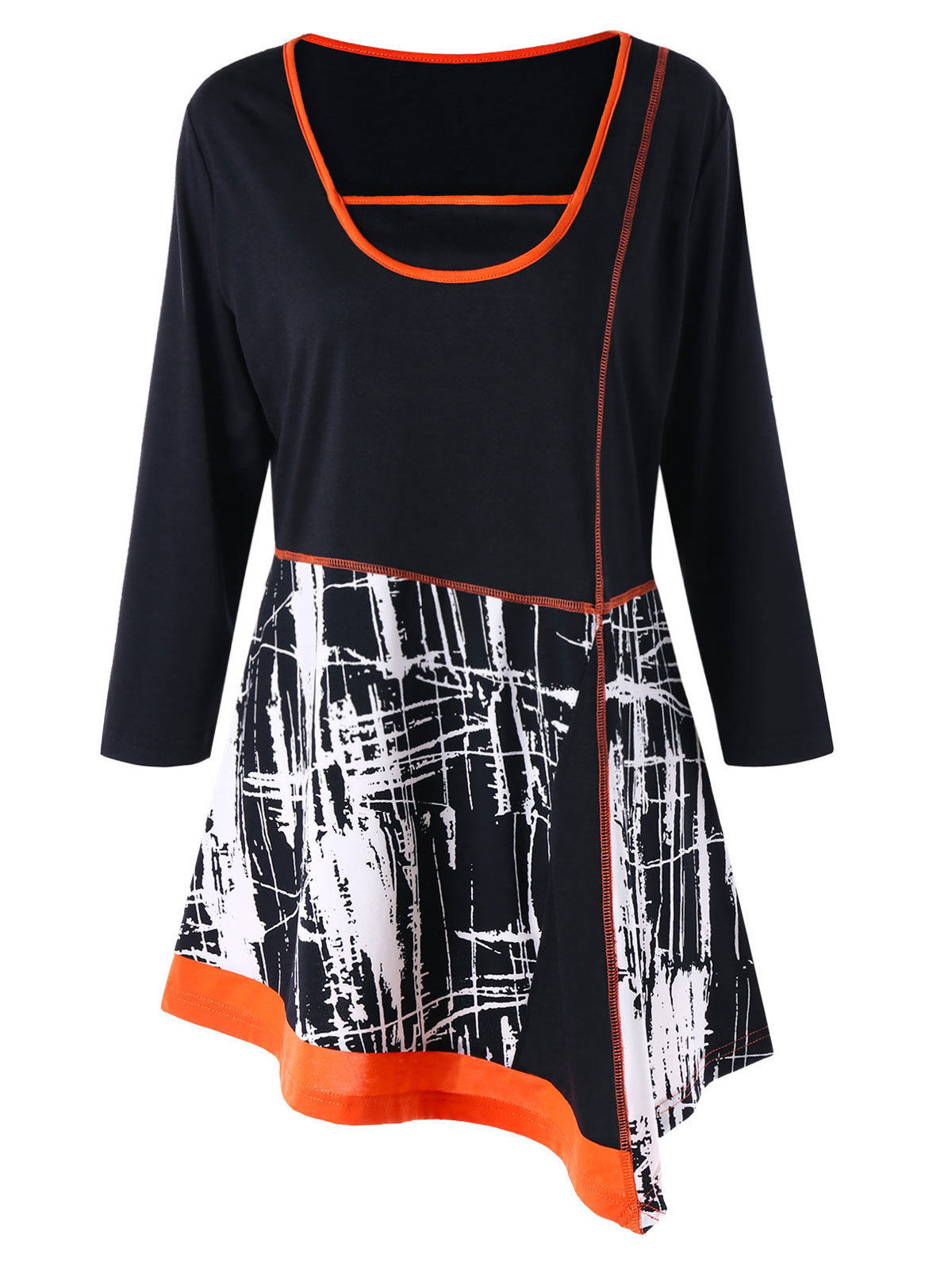 967f23c7afdfa5  9.99 - Plus Size Xl-5Xl Women T-Shirt Blouse Tops Print Asymmetric Ringer Long  Sleeve  ebay  Fashion