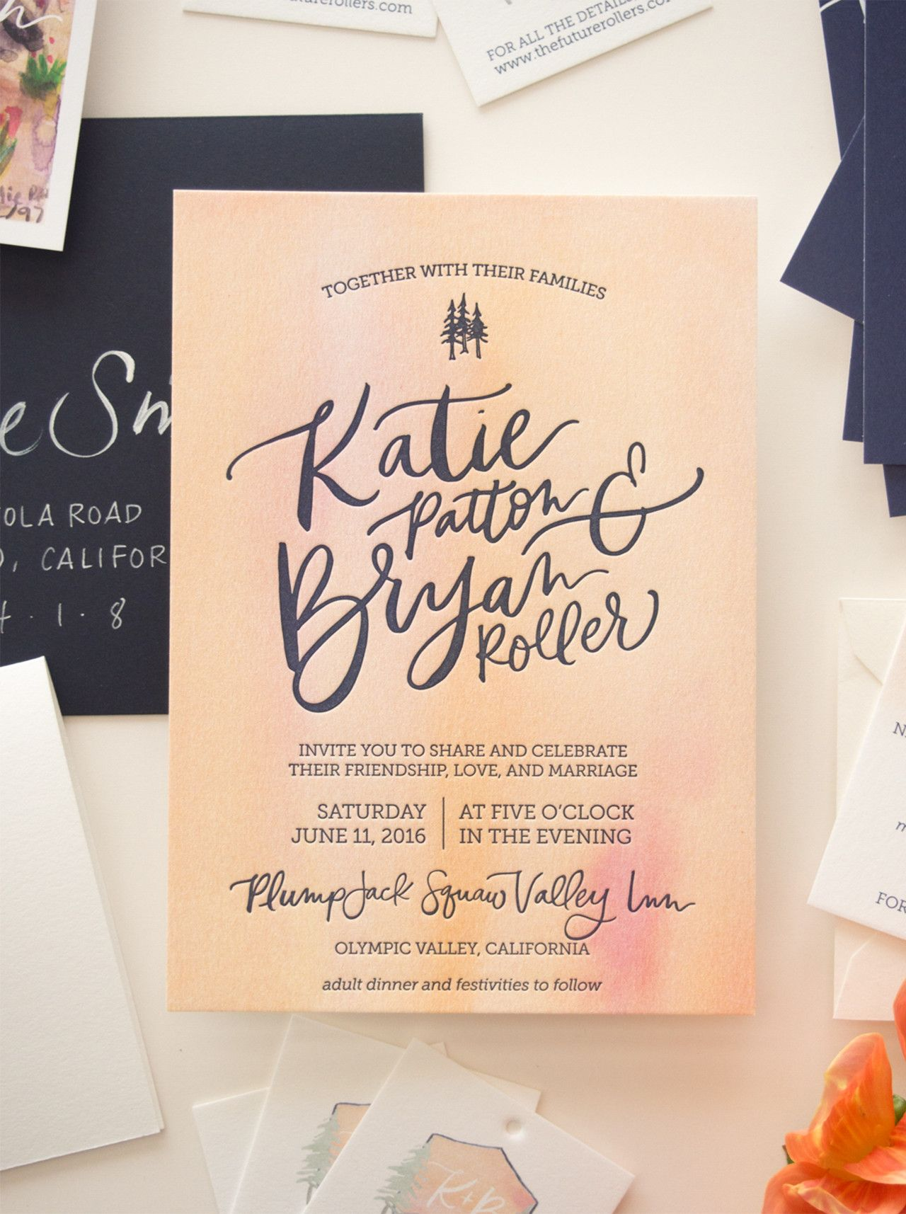 Vibrant Watercolor Crest Wedding Invitations   Bright rooms, Wedding ...