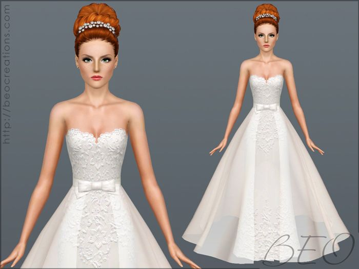 Wedding dress 28 v2 for Sims 3 by BEO | The Sims 3: Bridal / Wedding ...