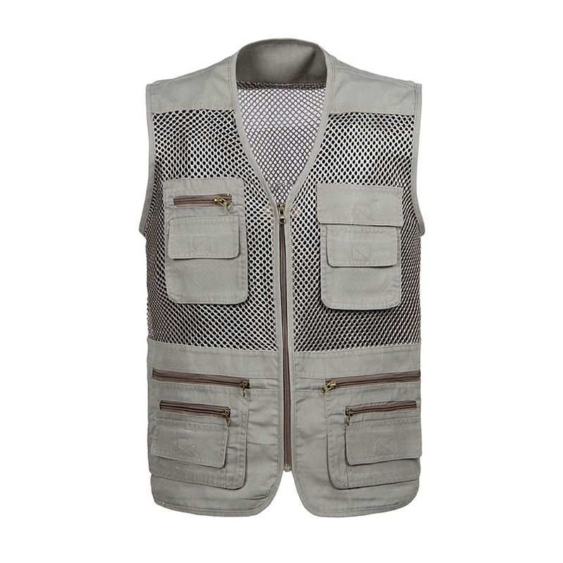 Lieshezhe Men Mesh Breathable Multi-Pocket Vest Outdoor Travelers Fly Fishing Photography