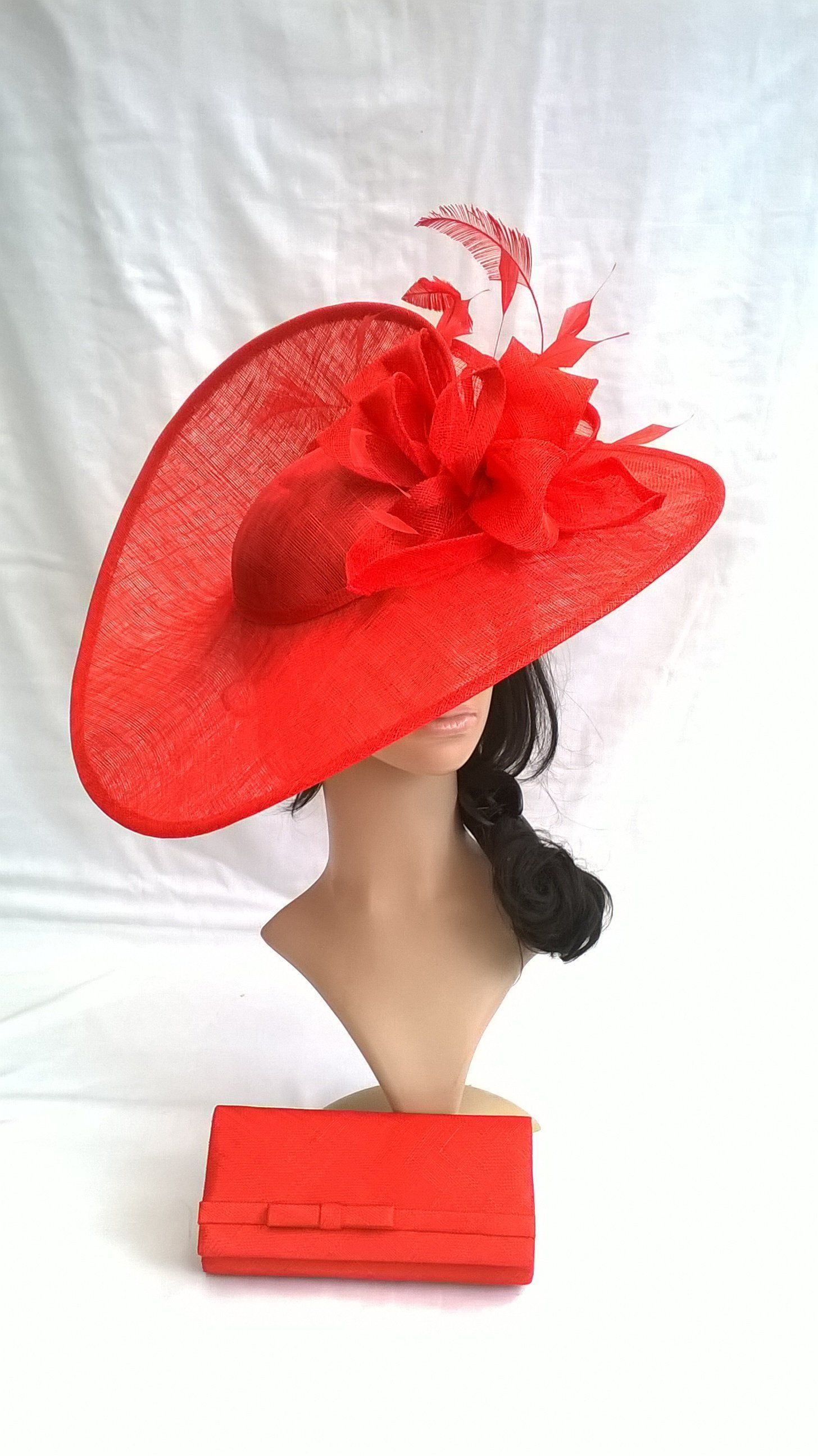 f01fbe81e3d Carolyn Larger Hatinator..Stunning Poppy Red Sinamay Fascinator Hat ...