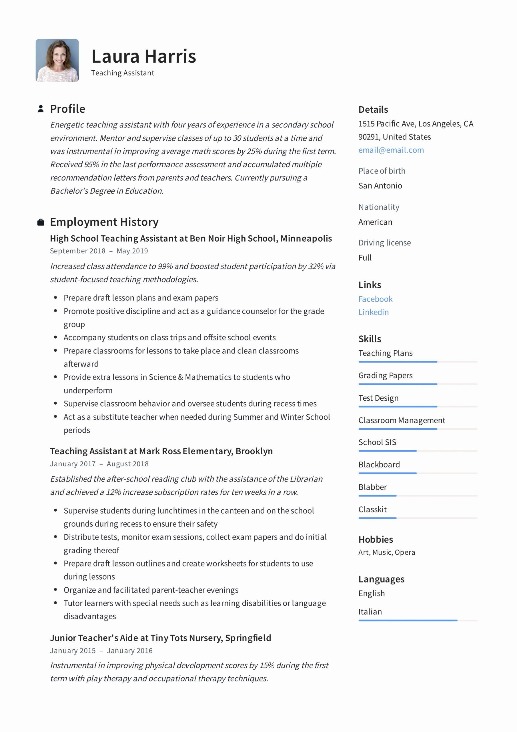 Teaching assistant Resume Description Awesome Teaching