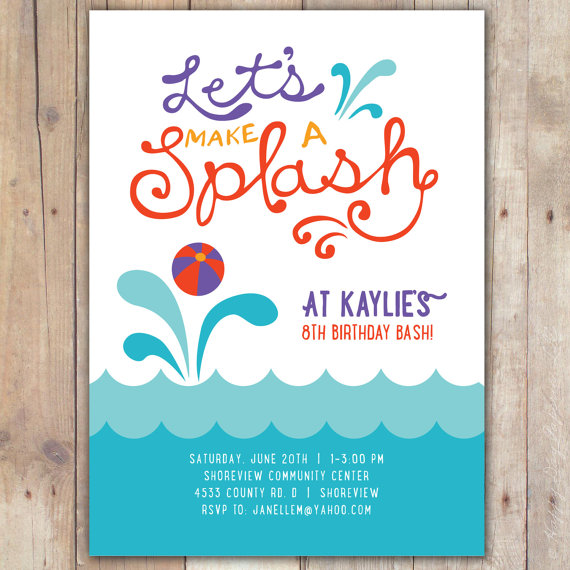 Splash - Custom DIGITAL Birthday Pool Party Invitation Invite for - how to word a birthday invitation