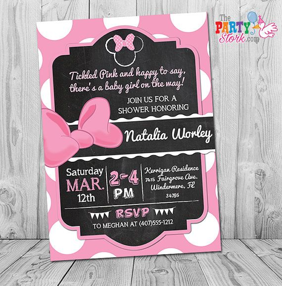 Minnie Mouse Baby Shower Invitation Printable Minnie Mouse Baby
