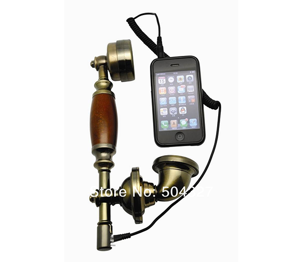 Retro Phone Handset for smartphone - Nothing ruins a perfectly-crafted steampunk costume quite like pulling your phone out of your trousers or skirts to take a call. Bubble of suspended disbelief popped. Stay in character! #nerd #geek #tech