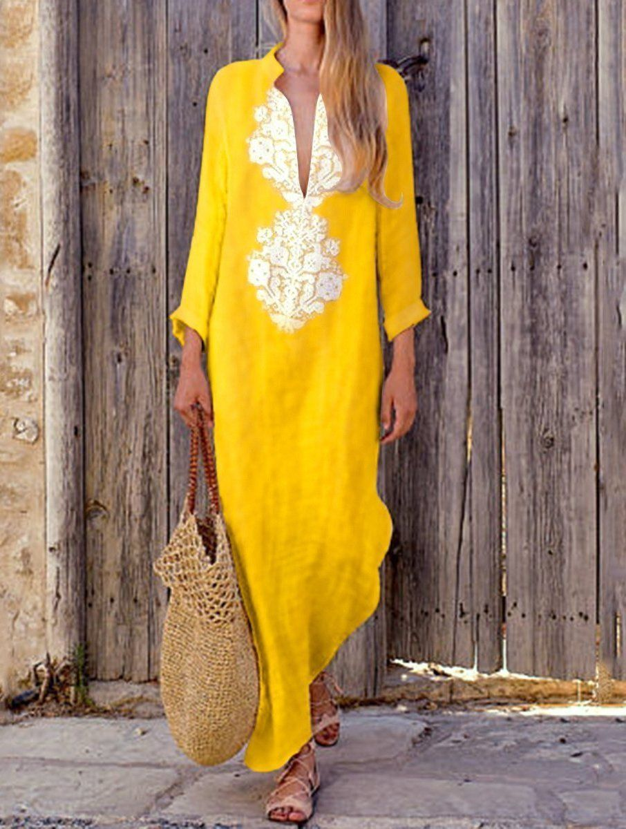 7b6988f331b7a4 Fashionable Cotton Line Casual V-Neck Maxi Dress  stylish  shopforselection   amazing  style  maxi  happy  fashion  clothing  hashtag  shopping