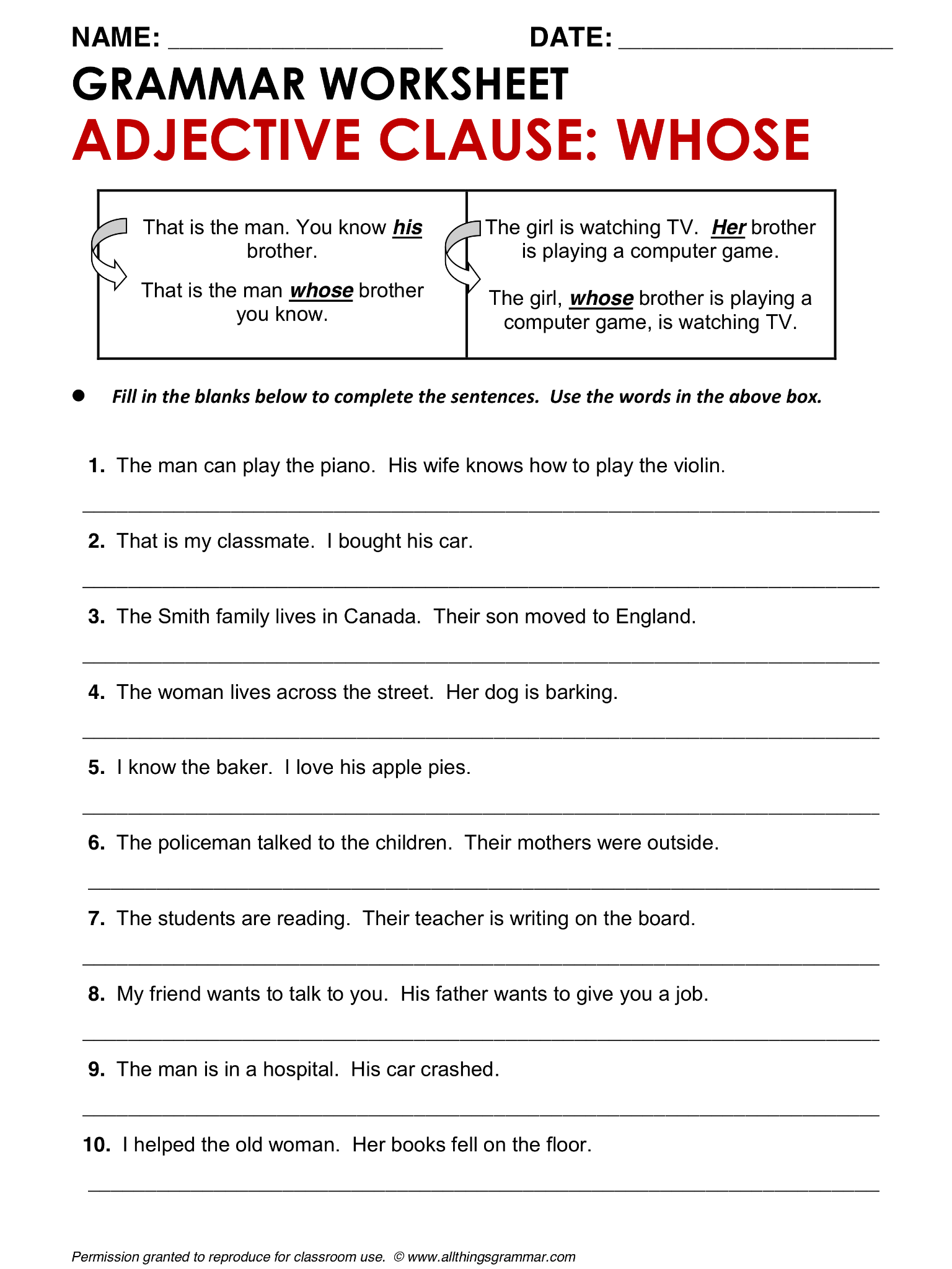 High School Grammar Worksheet Adjectives