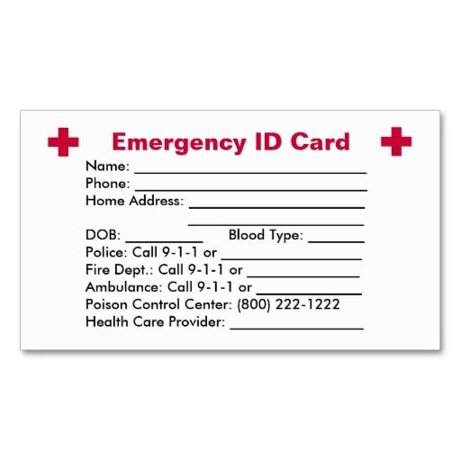 Emergency Id Example Emergency Idcard Emergencyid Example Clipart Health Contact Card Contact Card Template Id Card Template