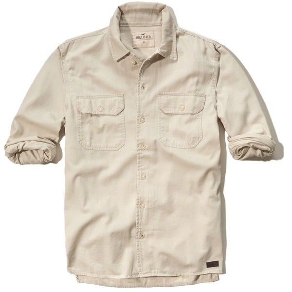 Hollister Twill Utility Shirt (160 BRL) ❤ liked on Polyvore ...
