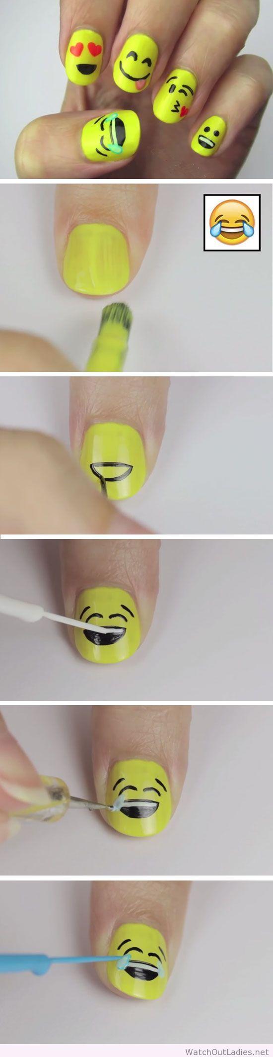 Passo a passo da unha de emoji   Nails   Pinterest   Diseños de uñas ...