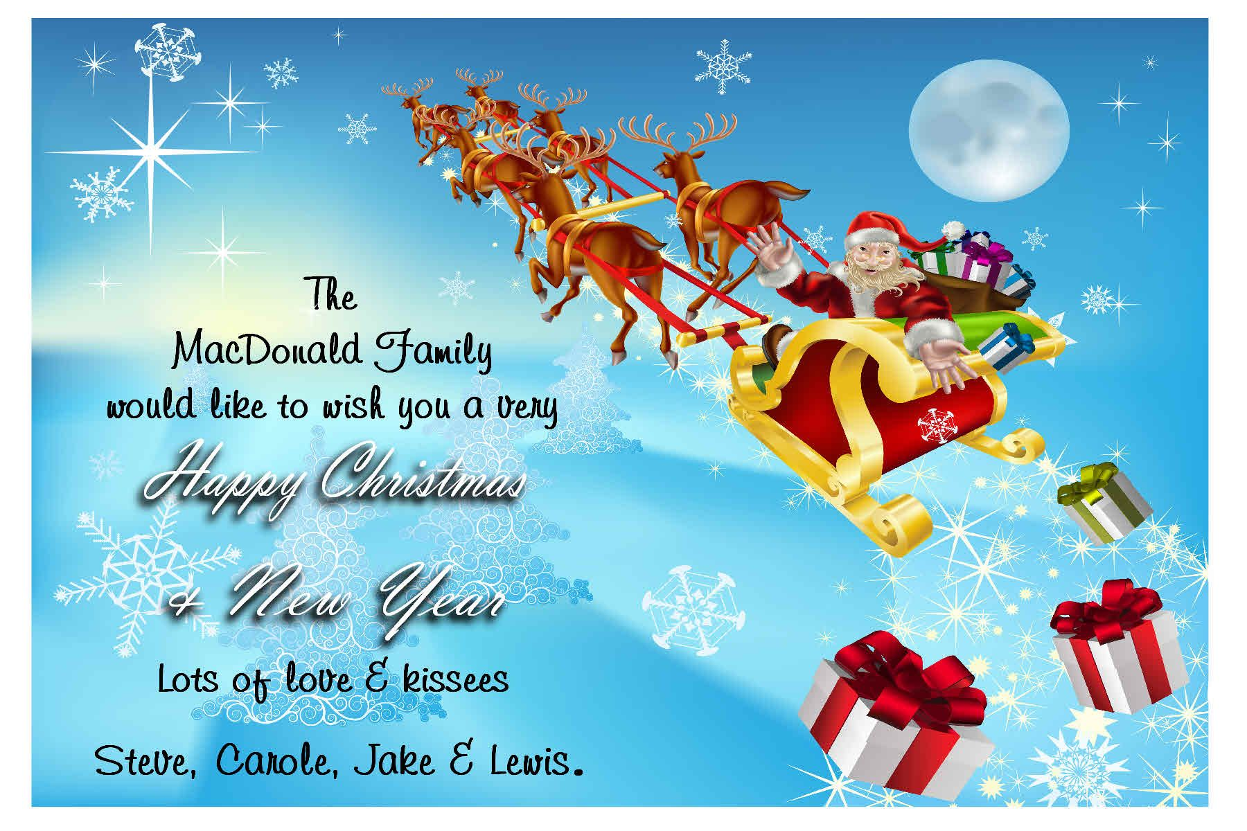 Unique christmas greeting cards 2017 happy holiday 10 personalised santa s sleigh christmas cards a unique way to send xmas wishes to friends family printed onto glossy photographic stock white m4hsunfo