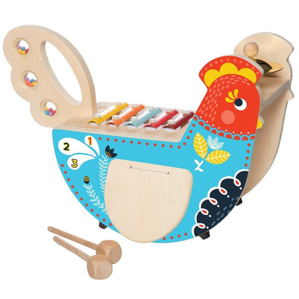 Manhattan Toy Musical Tiger Wooden Instrument for Toddlers with Xylophone Cymbal and Maraca Drumsticks