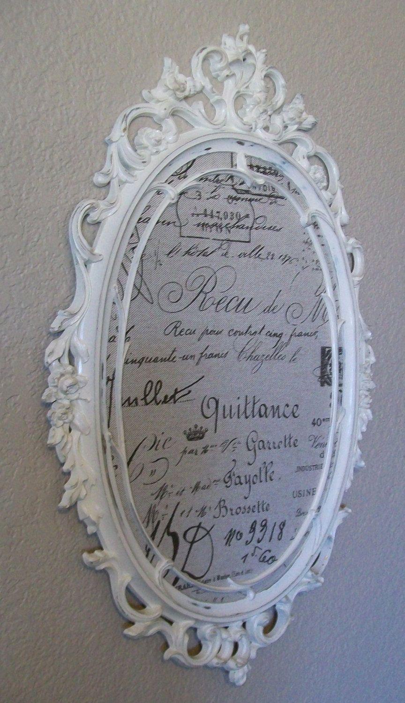 FRAMED BULLETIN BOARD-French Script Fabric-2 in 1 Baroque Ornate Vintage Framed Magnetic Chalkboard-Magnetic Fabric Memo Board-Wall Mirror. $174.00, via Etsy.
